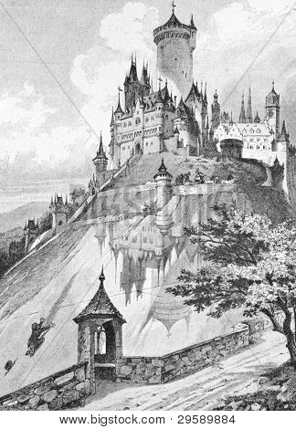 Lock in a glass mountain (the Brothers Grimm fairy tale). Engraving by  unknown artist. Published in magazine