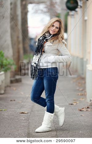 Winter Portrait Of Beautiful Blond Young Woman