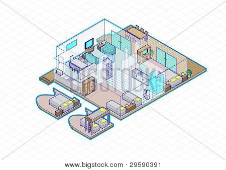 House Cabin Interior Vector Isometric