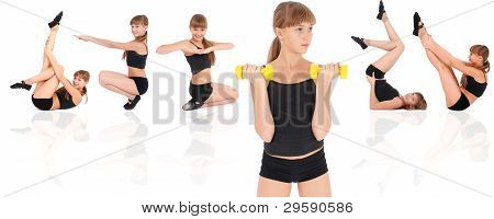 Gym Fitness Girl Training Her Body With Dumbbell