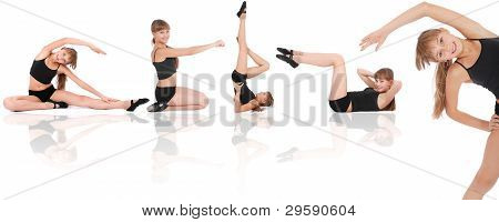 Fitness Girl On White Background. Five Poses.