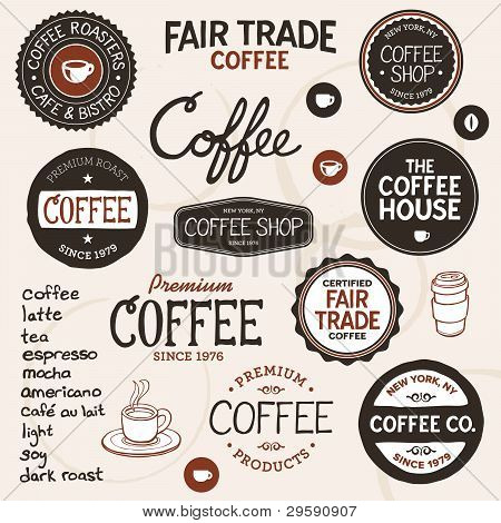 Vintage Coffee Labels And Lettering