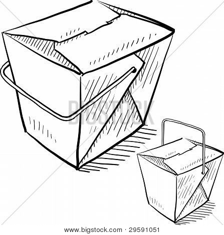 Chinese takeout food boxes sketch