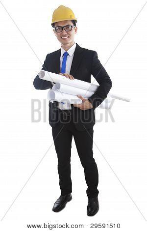 Ingeniero con planos
