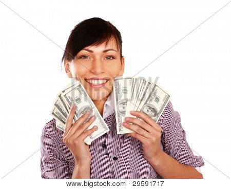 Cheerful young lady showing cash and smiling