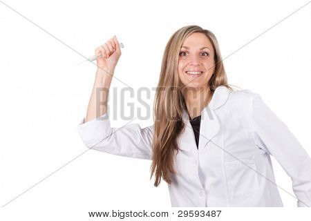 Comic image of woman doctor gives an injection