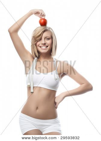 attractive woman with apple on white background