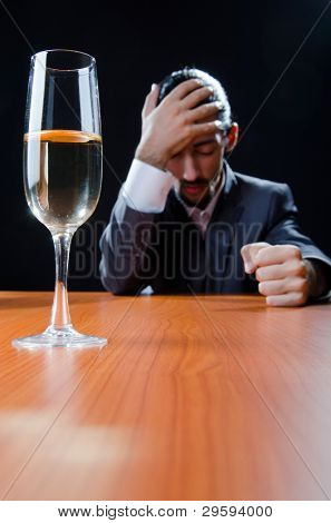 Man suffering from alcohol abuse