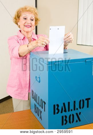 Election - Senior Woman Casts Ballot