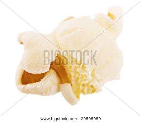 popcorn isolated on a white background, close-up