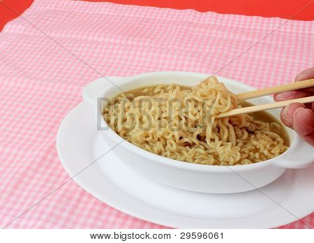 Eating Chinese Noodle Soup