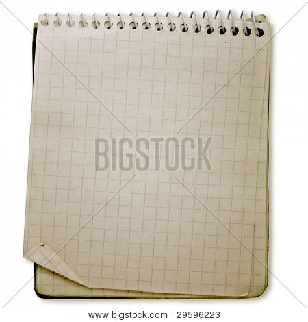 old used notebook on white background with clipping path