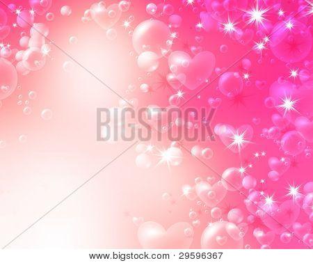 weiche romantischen Hintergrund der Luftblasen und Herzen