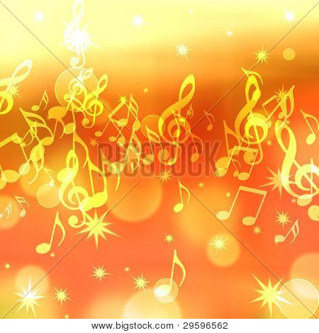 golden abstract background with music notes and stars
