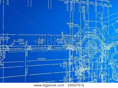 architectural drawing, made by hand on a blue background