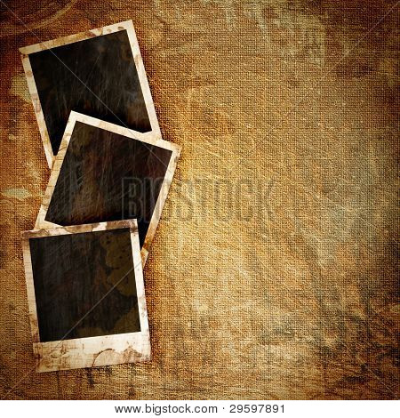 old instant photo frame on grunge background