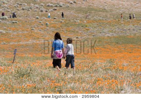 Two Girls Enjoying Themselves At The Poppy Preserve