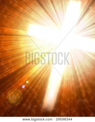 Cruz que brilla intensamente con radiales rayos de la luz