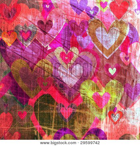 Grunge Liebe Muster Hintergrund mit einigen Flecken auf