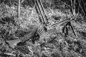 World War Ii German Wehrmacht Infantry Soldier Army Weapon. Mg 42 Machine Gun On Ground In Forest Tr poster