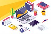 Flat Desktop Workspace With Laptop, Mobile Phone, Tablet, Calendar. Concept Workplace Organization W poster
