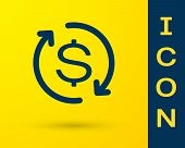 Blue Return Of Investment Icon Isolated On Yellow Background. Money Convert Icon. Refund Sign. Dolla poster