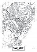 Vector Poster Detailed City Map Cardiff Detailed Plan Of The City, Rivers And Streets poster