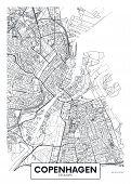 City Map Copenhagen, Travel Vector Poster Design For Interior Decoration poster