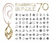 70 Vector Designs Of Earring. Cutout Silhouette With Floral Pattern. Template Is Suitable For Creati poster