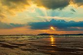 Sunset At The Beach. The Beauty Of A Tropical Beach Thailand Sunrise At The Beach. Beach Sand  Ao Na poster