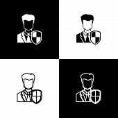 Set User Protection Icons On Black And White Background. Secure User Login, Password Protected, Pers poster