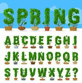 Green Leaf Vector Abc Typeface Font Vector Character Set. . poster