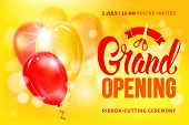 Advertisement Of Grand Opening And Ribbon Cutting Ceremony. Unusual Design With Calligraphy Inscript poster