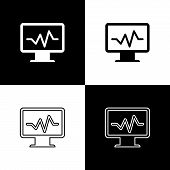 Set Computer Monitor With Cardiogram Icons Isolated On Black And White Background. Monitoring Icon.  poster