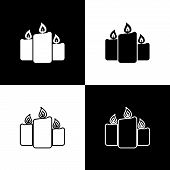 Set Burning Candles Icons Isolated On Black And White Background. Old Fashioned Lit Candles. Cylindr poster