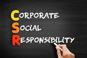 Color Wooden Alphabets Building The Word Csr - Corporate Social Responsibility Acronym On Blackboard poster