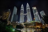image of klcc  - Kuala Lumpur Malaysia Cityscape at Night at the Park with Water Fountain - JPG