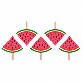 Watermelon Juicy Ice Cream, Bright Homemade Frozen Popsicle Vector Icon On Wooden Stick. Set Of Wate poster