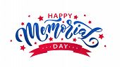Memorial Day. Remember And Honor. Vector Illustration Hand Drawn Text Lettering With Stars For Memor poster