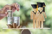 University Education Learning Abroad International Idea. Student Graduation Save Coins Us Dollar,jpy poster