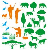 picture of bull rushes  - hunter silhouette  - JPG