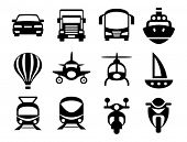 stock photo of railroad car  - Set of simple transport icons - JPG