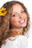 foto of naturel  - Smiling young woman face with perfect teeth - JPG