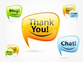 Thank you, chat, blog - glossy speech bubbles. Set of orange, green, blue balloon.