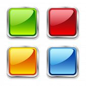 stock photo of bulge  - Bright shiny metal square web buttons - JPG