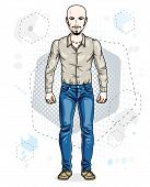 Confident Handsome Hairless Young Man Standing. Vector Illustration Of Male With Beard And Whiskers  poster