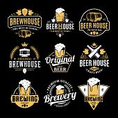 Vector White And Yellow Vintage Beer Logo poster