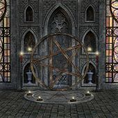 Mysterious Room With Pagan Altar And Candles - 3d Illustration poster