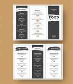 White Menu Template With Black Grunge Elements For Cafes And Restaurants. poster