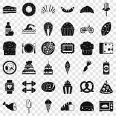 Calories In Food Icons Set. Simple Style Of 36 Calories In Food Vector Icons For Web For Any Design poster